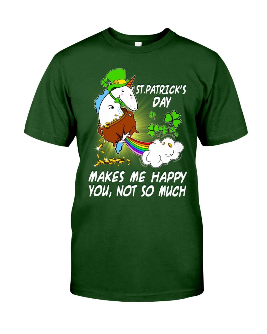 Patrick's day Unicorn make me happy shirt Classic T-Shirt