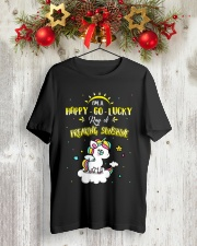 Unicorn Happy Go Lucky  Classic T-Shirt lifestyle-holiday-crewneck-front-2