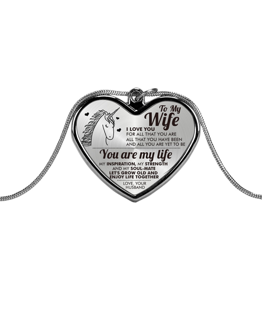 Unicorn You Are My Life Wife Metallic Heart Necklace