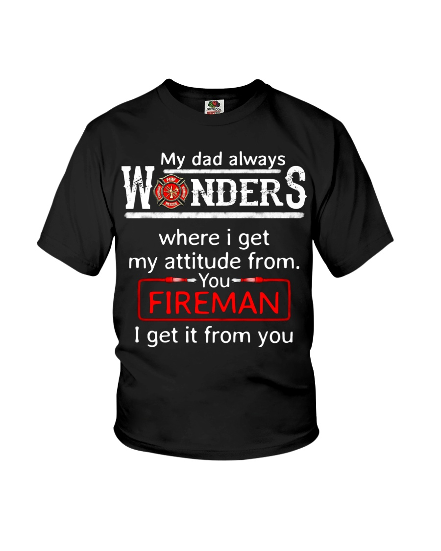 Firefighter Dad Attitude  Youth T-Shirt