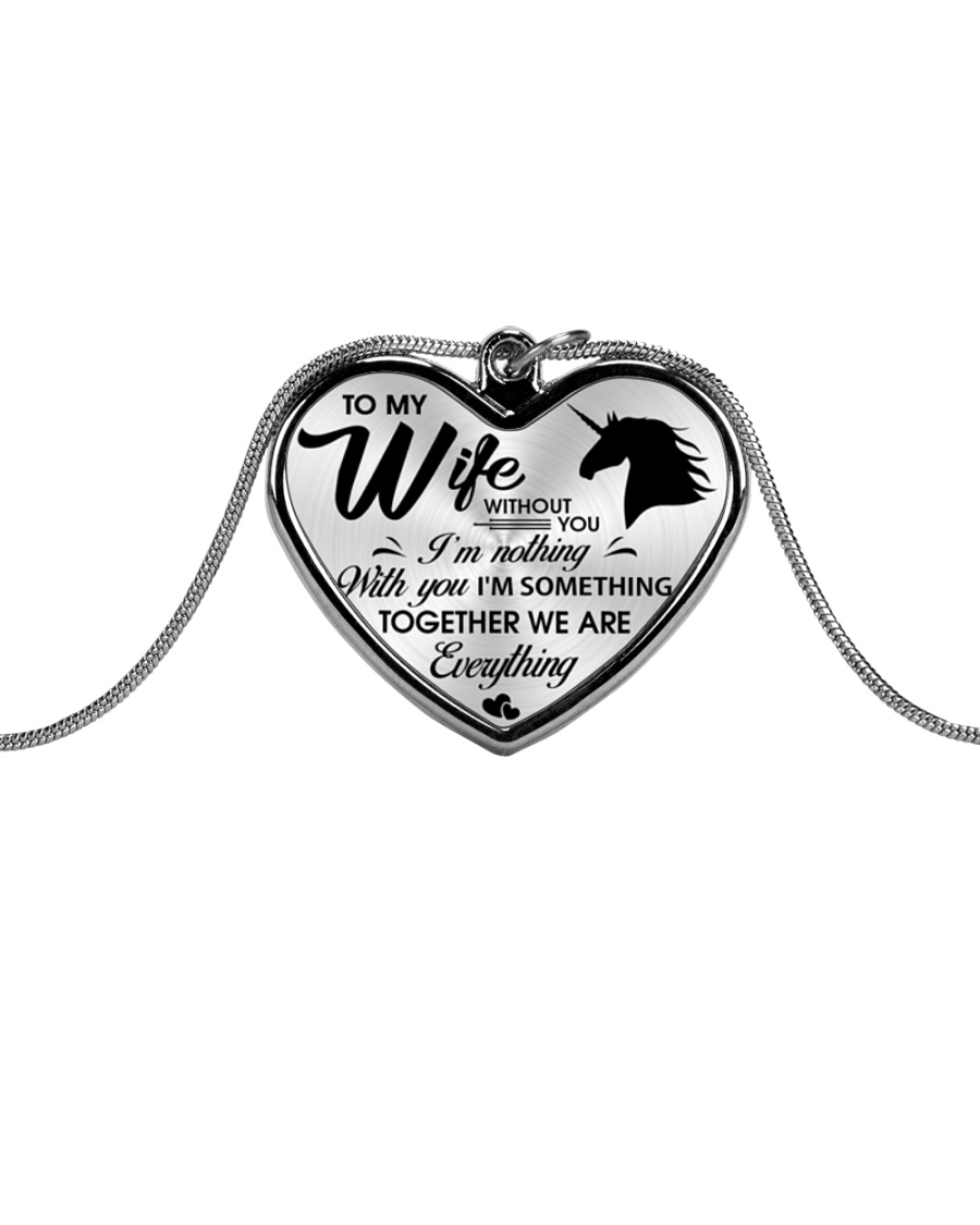 Unicorn Together We Are Everything Metallic Heart Necklace