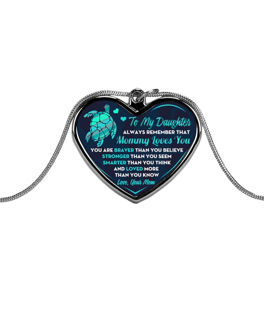 Turtle Mommy Loves You Daughter Metallic Heart Necklace