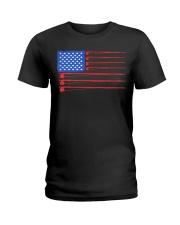 Fishing American flag shirt Ladies T-Shirt thumbnail