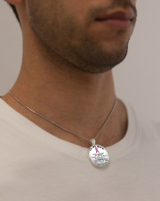 Breast Cancer Believe in you Wife Husband Metallic Circle Necklace aos-necklace-circle-metallic-lifestyle-2