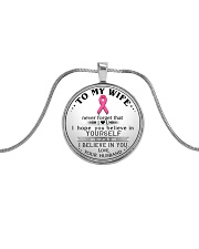 Breast Cancer Believe in you Wife Husband Metallic Circle Necklace front