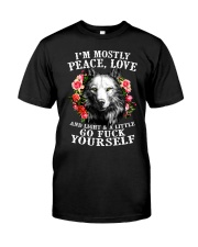 Peace Love Go Yourself Wolf Classic T-Shirt front