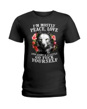 Peace Love Go Yourself Wolf Ladies T-Shirt thumbnail
