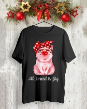 Farmer all  I need is pig Classic T-Shirt lifestyle-holiday-crewneck-front-2