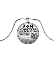 Viking Dad Son Last Breath To Say Love Metallic Circle Necklace front