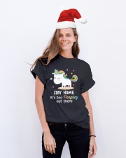 Unicorn Stay Home T-shirt Classic T-Shirt lifestyle-holiday-crewneck-front-1