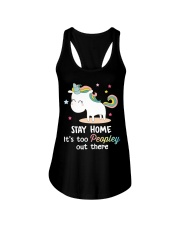 Unicorn Stay Home T-shirt Ladies Flowy Tank tile