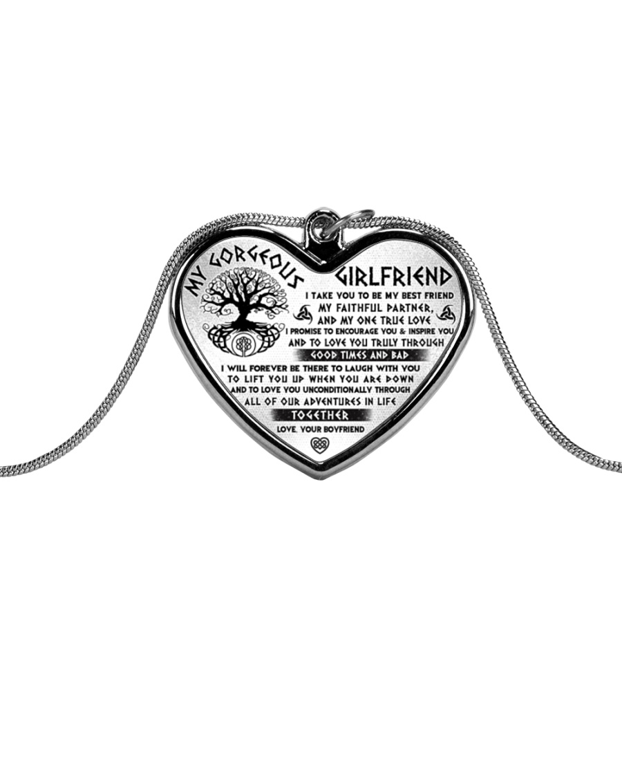 Faithful Partner True Love Girlfriend Viking Metallic Heart Necklace