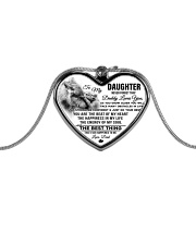 Wolf Dad Daughter Stay Strong Metallic Heart Necklace front