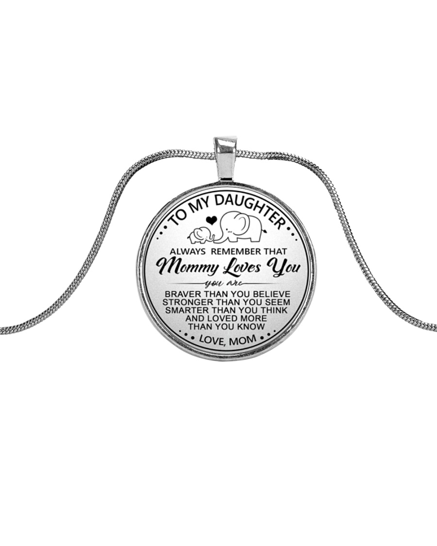 Elephant Mommy Loves You Daughter Mom Metallic Circle Necklace