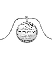 Elephant Mommy Loves You Daughter Mom Metallic Circle Necklace front