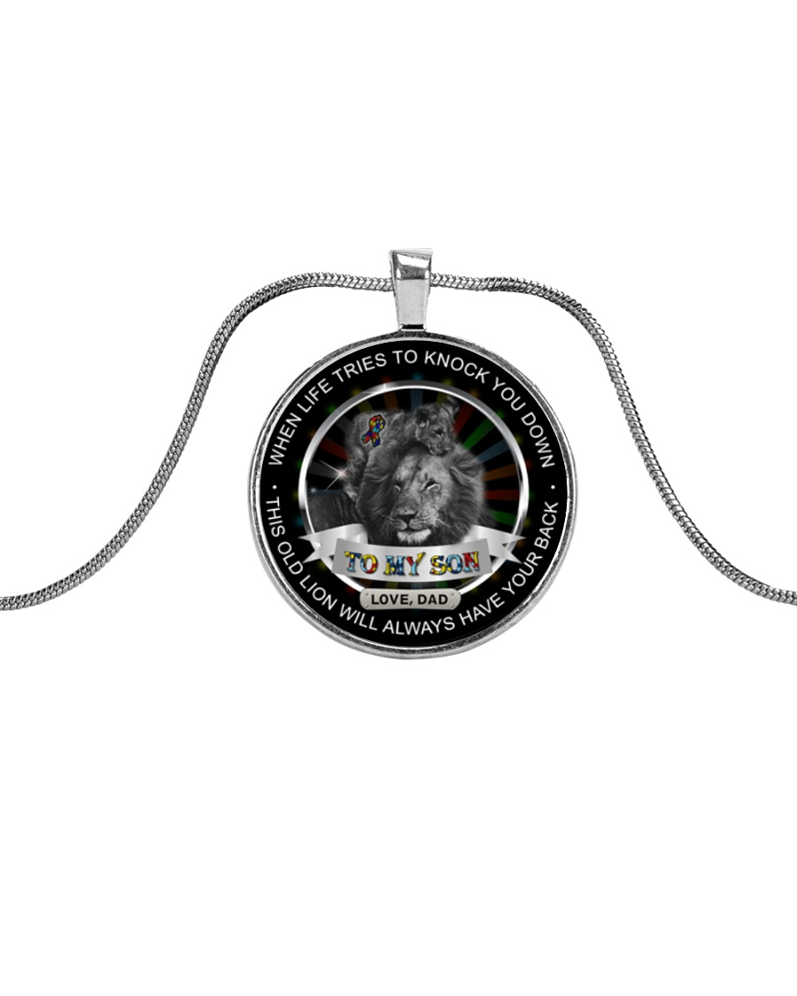 Autism When Life Knock You Down Son Dad  Metallic Circle Necklace