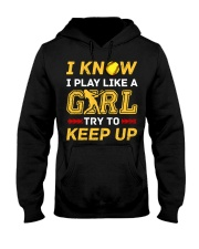 Softball play like a girl  Hooded Sweatshirt thumbnail