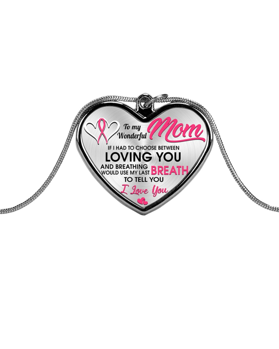 Breast Cancer Last Breath To Love You Metallic Heart Necklace