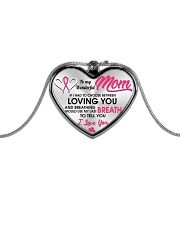 Breast Cancer Last Breath To Love You Metallic Heart Necklace front