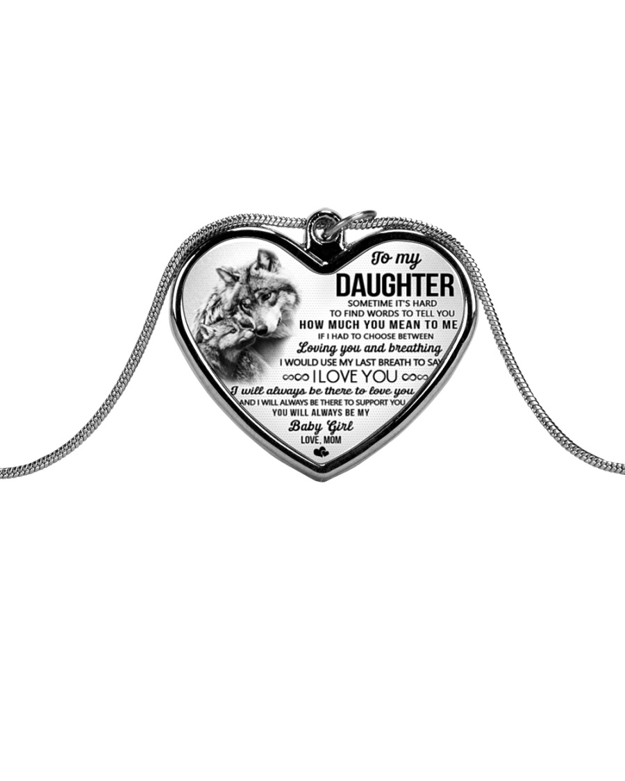 Wolf Mom Daughter Last Breath To Say Love Metallic Heart Necklace