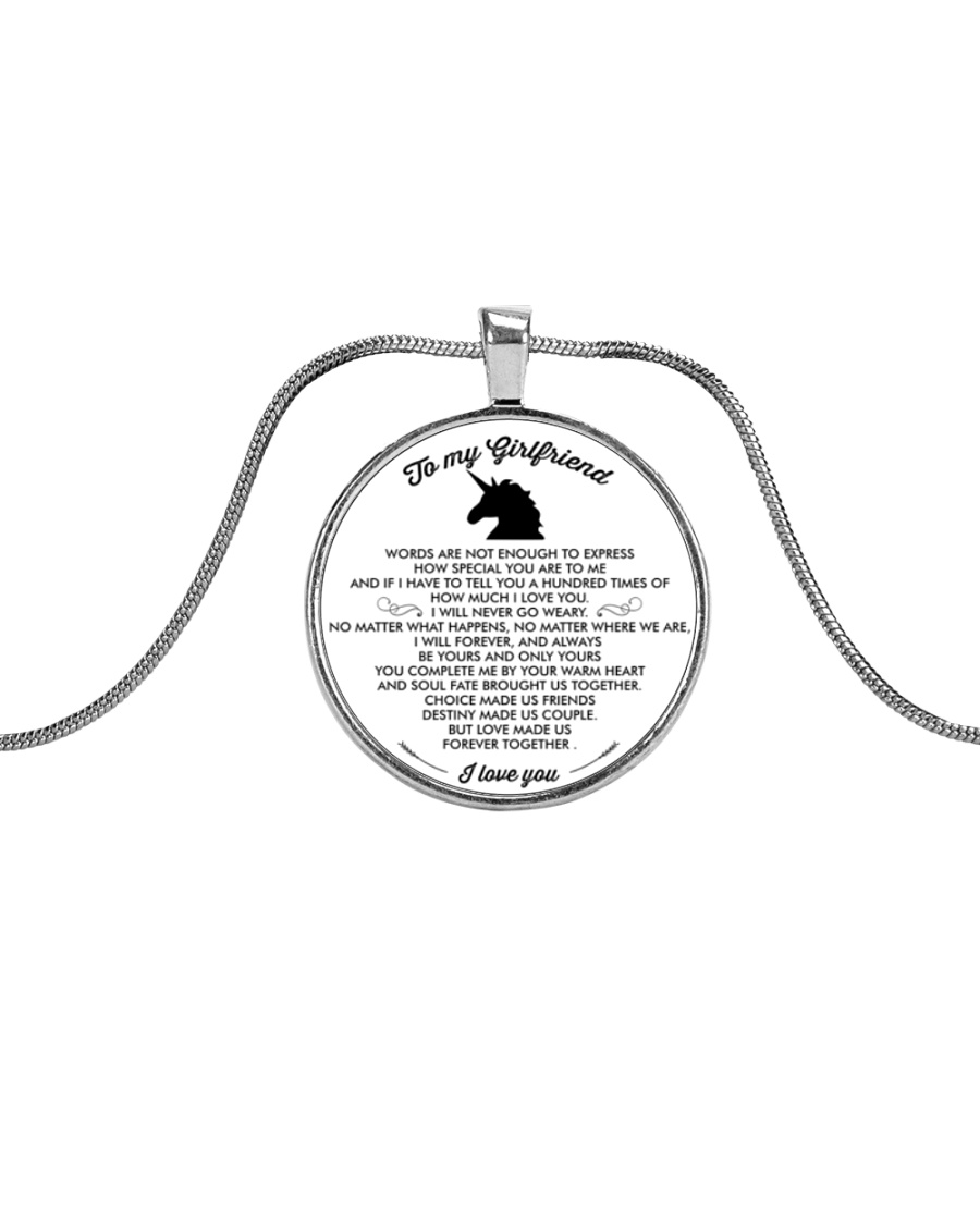Unicorn Love Make Us Forever Together Metallic Circle Necklace