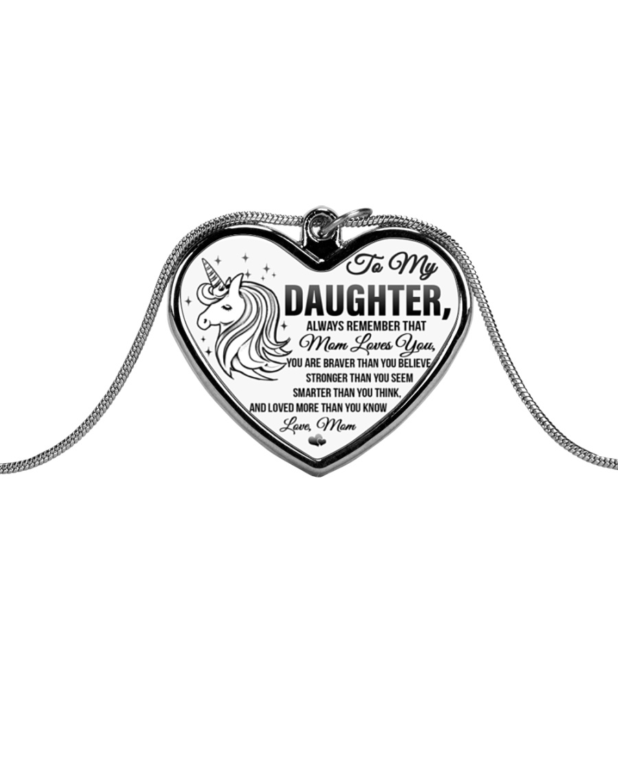 Unicorn Mom Loves You Daughter Mom Metallic Heart Necklace