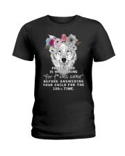 Parenthood Is Whispering Mom Wolf  Ladies T-Shirt thumbnail