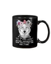 Parenthood Is Whispering Mom Wolf  Mug thumbnail