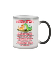 Dinosaur Faithful Partner True Love Wife  Color Changing Mug tile
