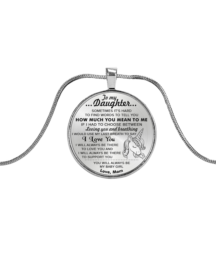 Unicorn Last Breath To Love You Daughter Mom Metallic Circle Necklace
