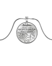 Unicorn Last Breath To Love You Daughter Mom Metallic Circle Necklace front