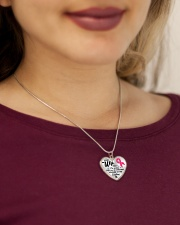 Breast Cancer Together We Are Everything Metallic Heart Necklace aos-necklace-heart-metallic-lifestyle-1