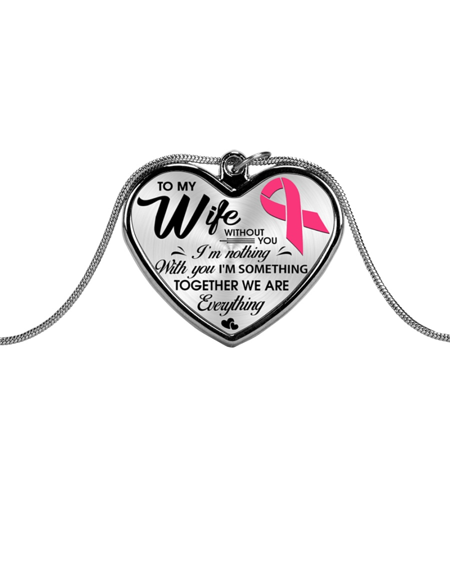 Breast Cancer Together We Are Everything Metallic Heart Necklace