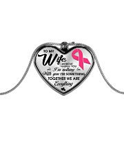 Breast Cancer Together We Are Everything Metallic Heart Necklace front