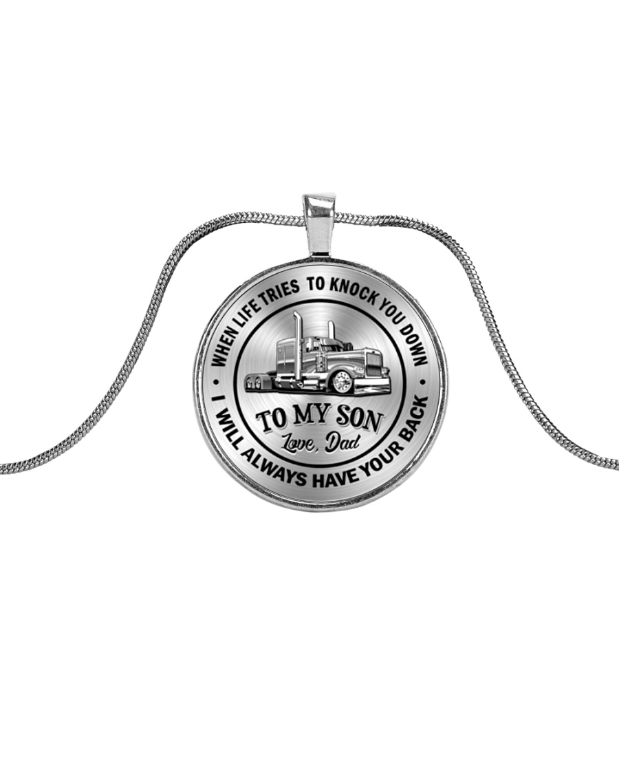 To My Son Trucker Necklace Metallic Circle Necklace