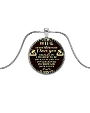 Wife I'm Not Perfect But I Love You Viking  Metallic Circle Necklace tile