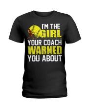 Softball I'm the girl Ladies T-Shirt front