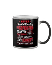 Never Underestimate A Firefighter Color Changing Mug thumbnail