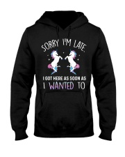 Unicorn Sorry I Am Late Hooded Sweatshirt thumbnail