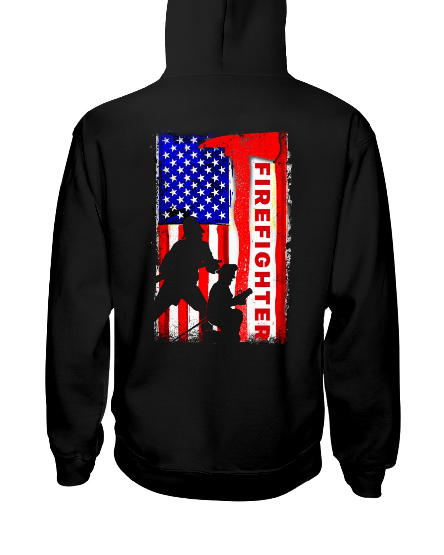 Firefighter American flag Hooded Sweatshirt
