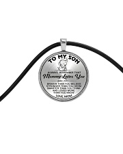Elephant Mommy Loves You Son Mom Cord Circle Necklace thumbnail