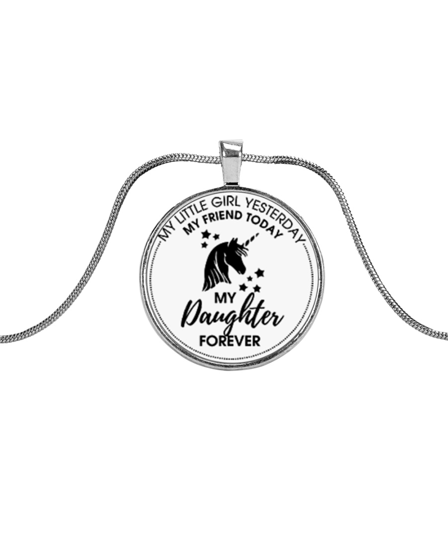 Unicorn My Little Girl My Daughter Forever Metallic Circle Necklace