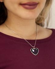 Faithful Partner True Love Wife Unicorn Metallic Heart Necklace aos-necklace-heart-metallic-lifestyle-1