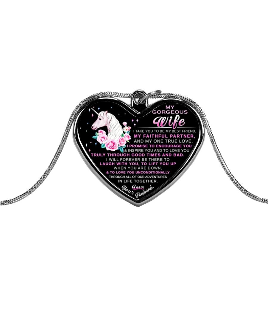 Faithful Partner True Love Wife Unicorn Metallic Heart Necklace