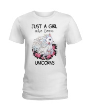 Just A Girl Who Love Unicorns Ladies T-Shirt thumbnail