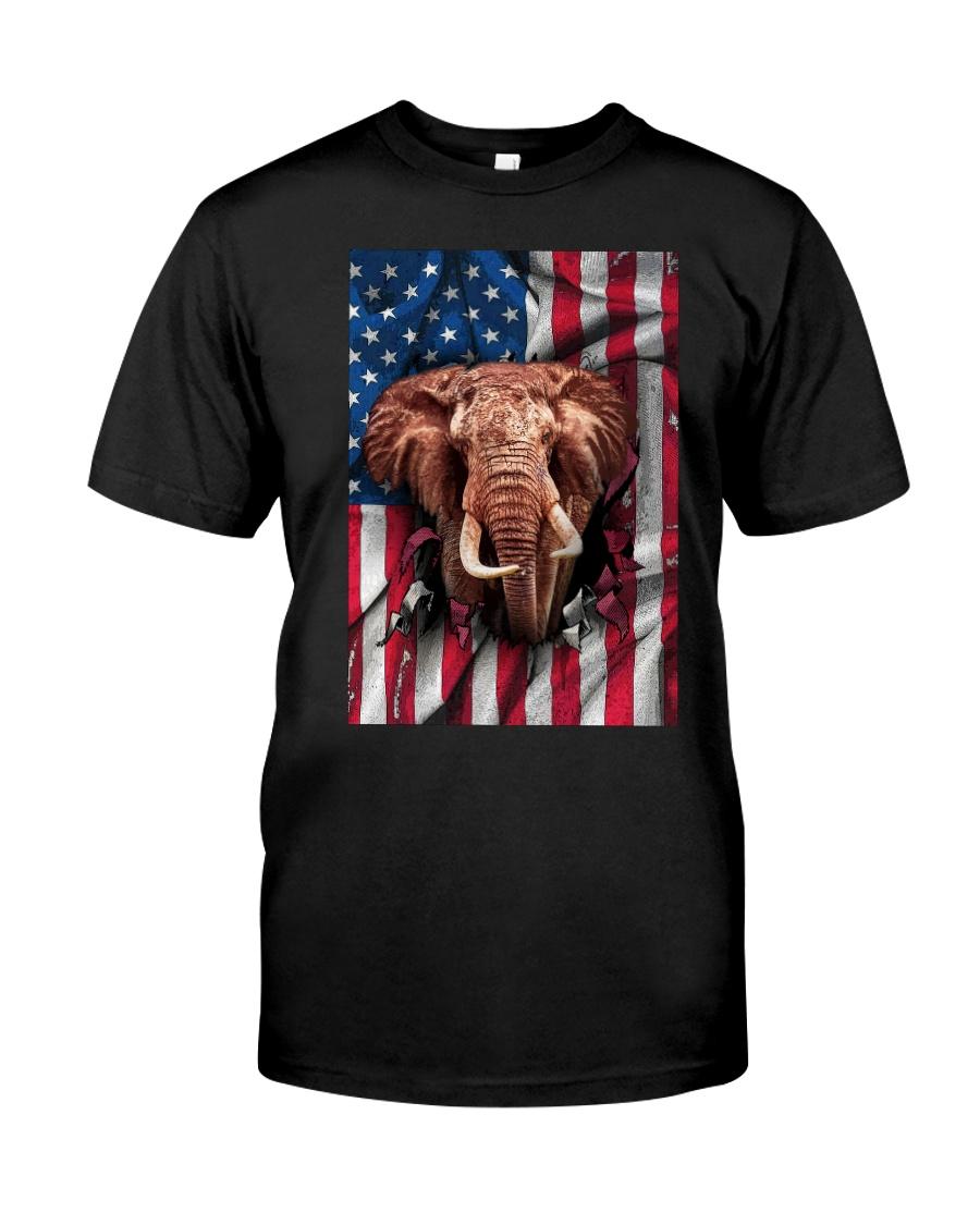 American Flag Elephant Classic T-Shirt