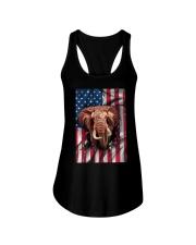American Flag Elephant Ladies Flowy Tank thumbnail
