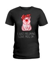 Farmer freaking love pigs Ladies T-Shirt thumbnail