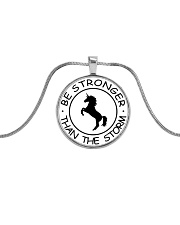 Unicorn Be Stronger Than The Storm Metallic Circle Necklace front