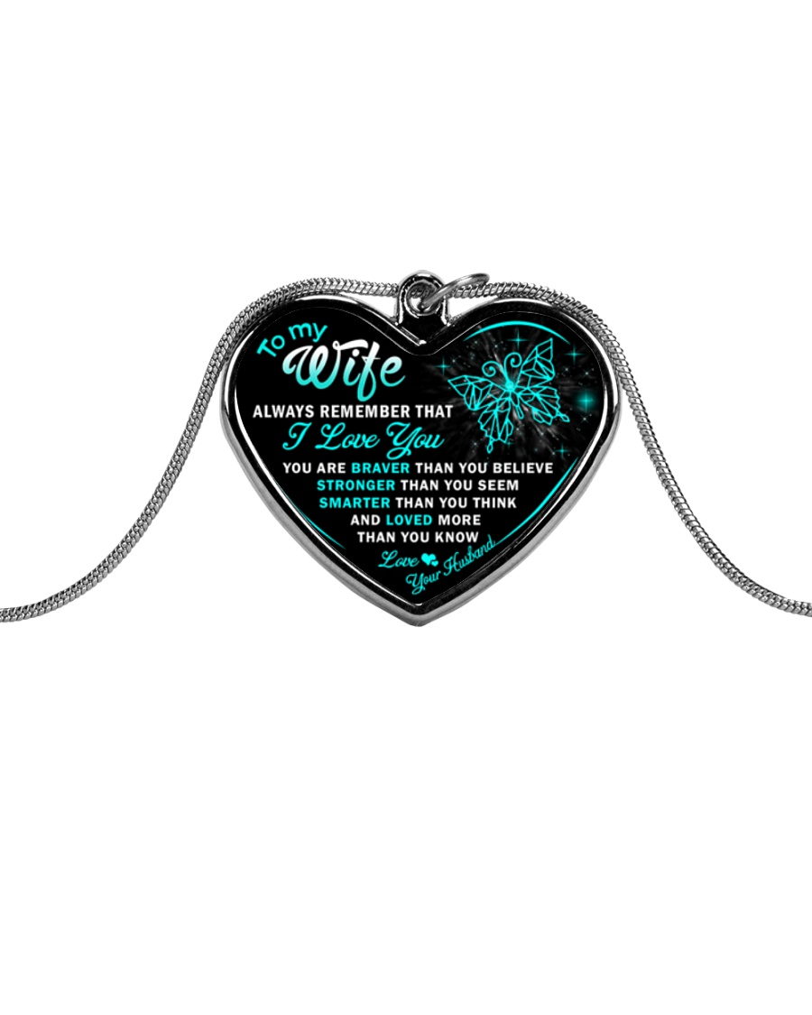 Butterfly I Love You Wife Metallic Heart Necklace